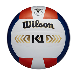 closeup of a red, white, and navy blue volleyball