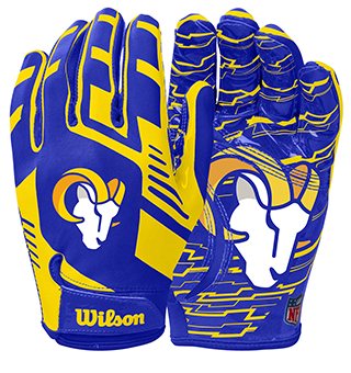 Two gloves with the Los Angeles Rams colors