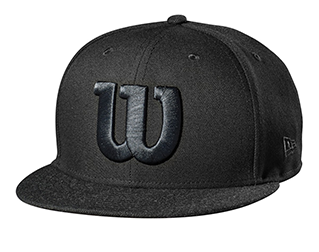 black flat-brimmed baseball cap with the Wilson W on the front