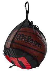 mesh bag with a single basketball inside