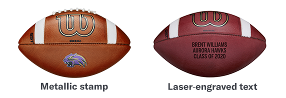 Photo showing four types of logo styles on the football