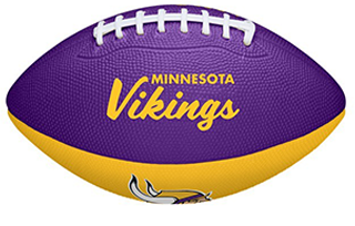 Purple and gold mini football with old Minnesota Vikings logo