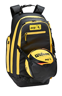 black and yellow backpack with a volleyball in the front