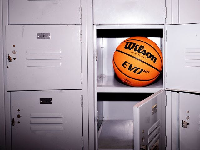 EVO NXT Basketball sitting in sports locker