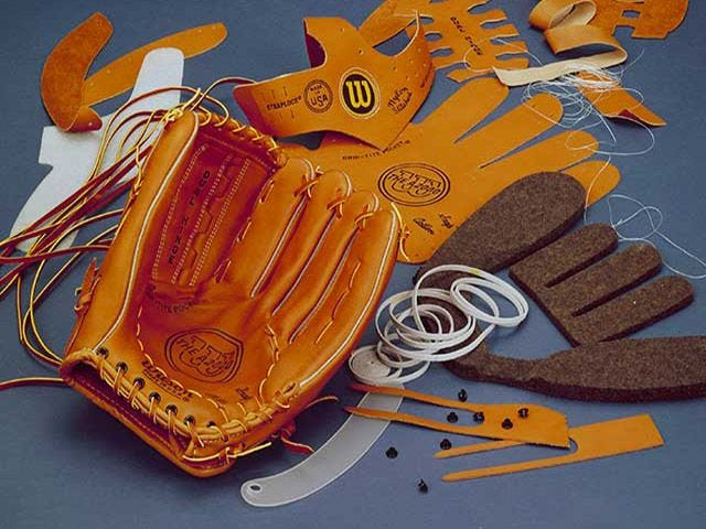 close-up of Wilson ball gloves