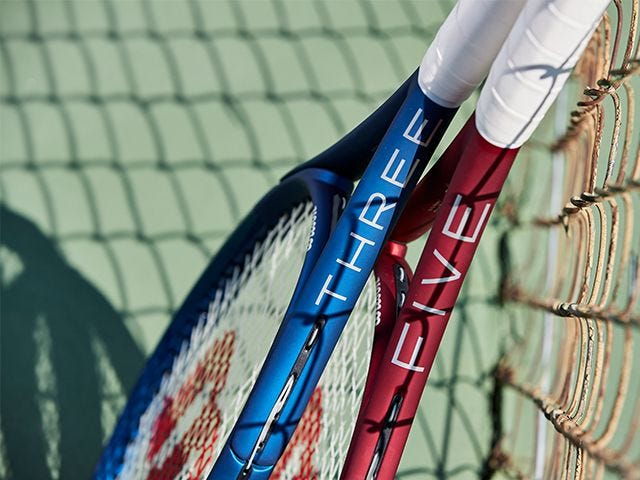 close-up of triad rackets