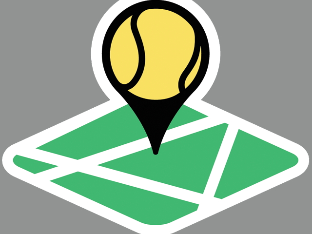 Location icon on a tennis court-part of the Play Your Court logo