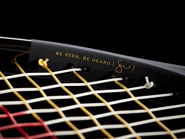Close up of SW102 Autographed Tennis Racket