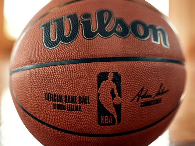closeup of the new NBA official basketball