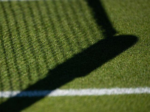 closeup of net shadow on a grass court