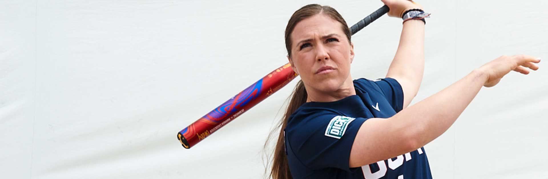 Amanda Chidester swinging a bat