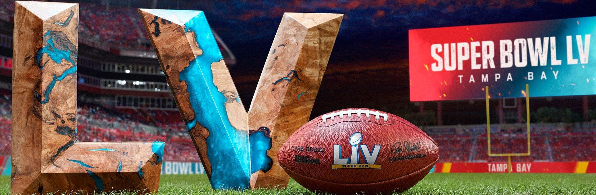 Super Bowl LV banner with a Wilson Duke football