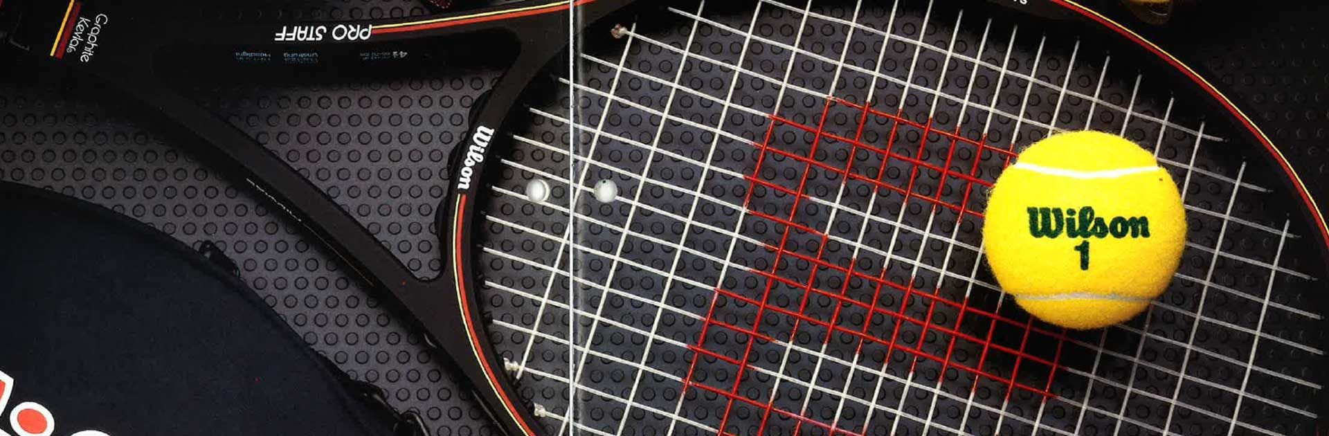 Close up of Pro Staff Tennis Racket and Wilson Tennis Ball