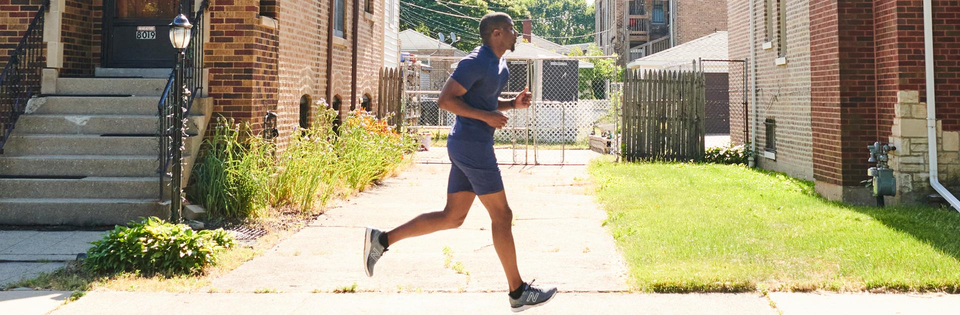 Jahmal Cole jogging on suburban street