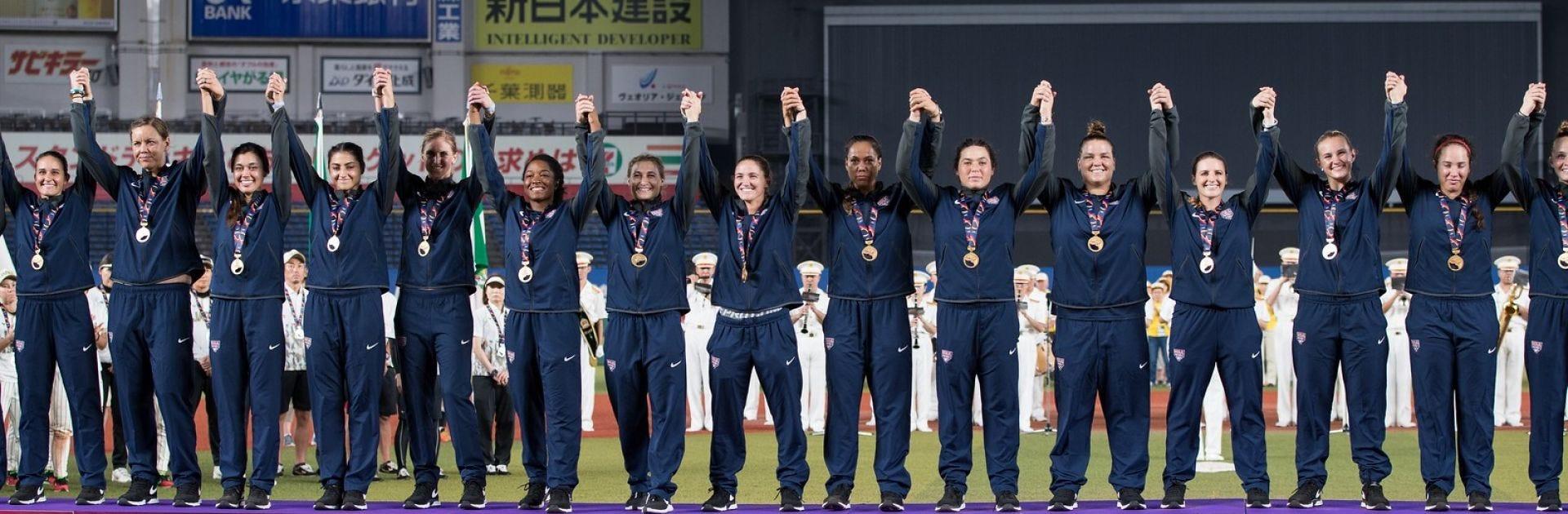 Team USA Softball celebrating on the podium