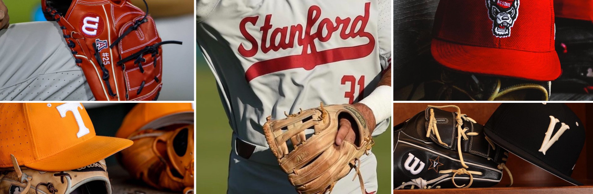 Collage of five closeups of team logos and Wilson gloves