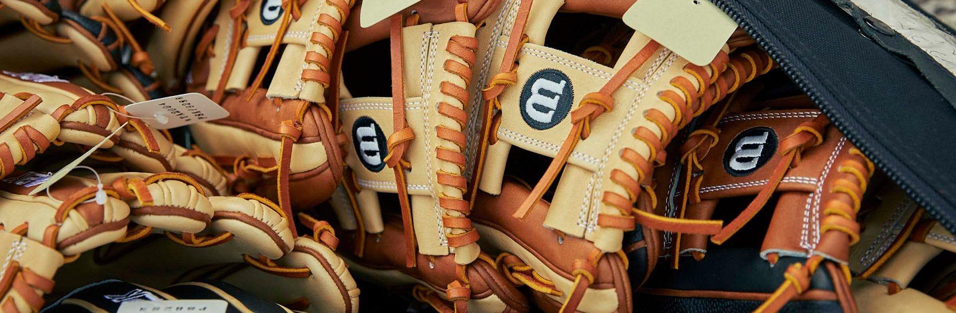 Game model glove close-up