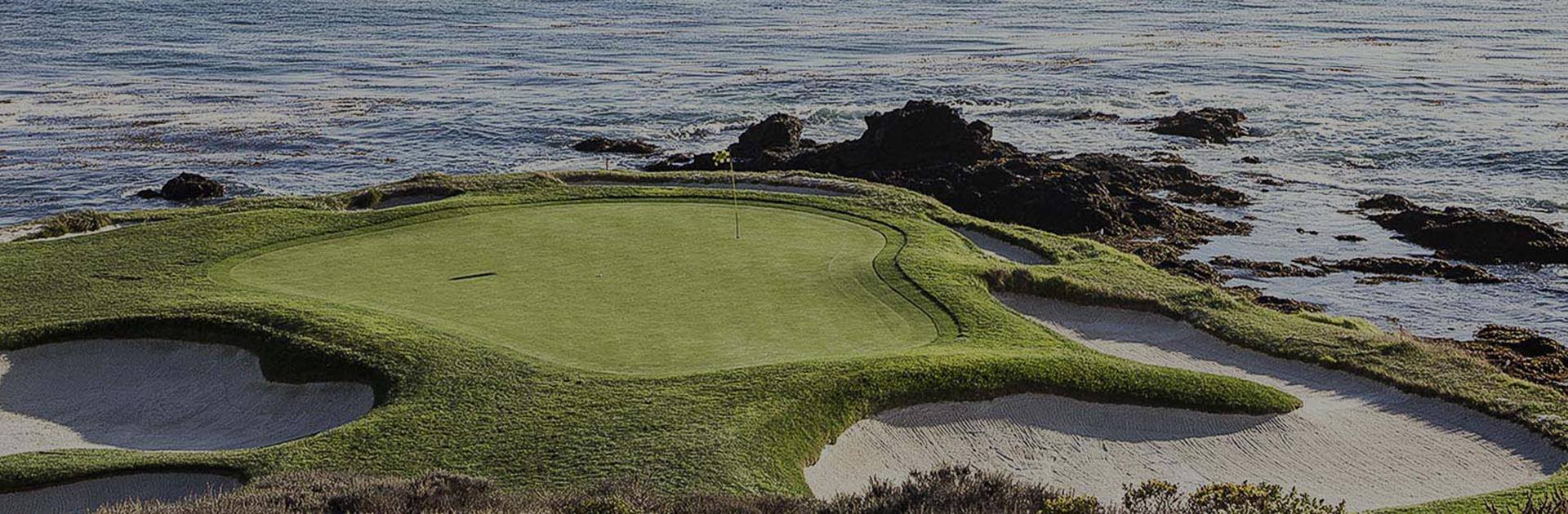 wide photo of golf green and ocean