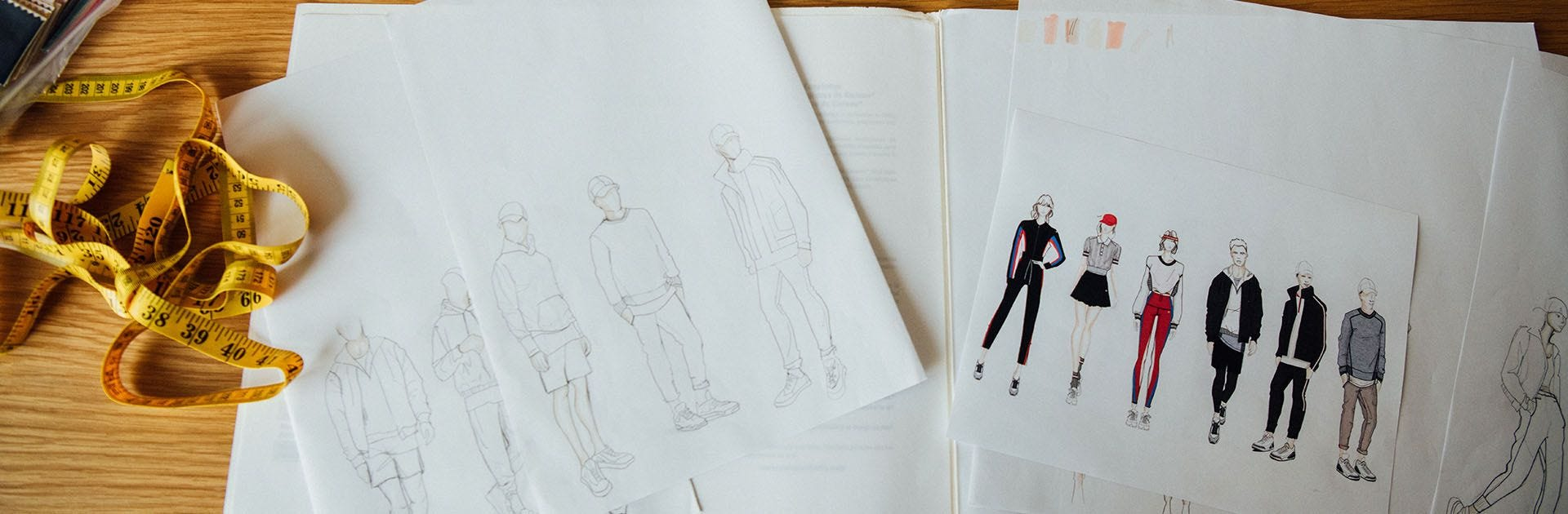 apparel design sketches and an a2000 glove