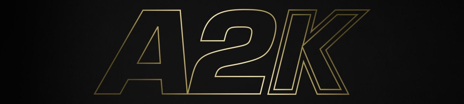 A2K Logo in gold letters on a black background