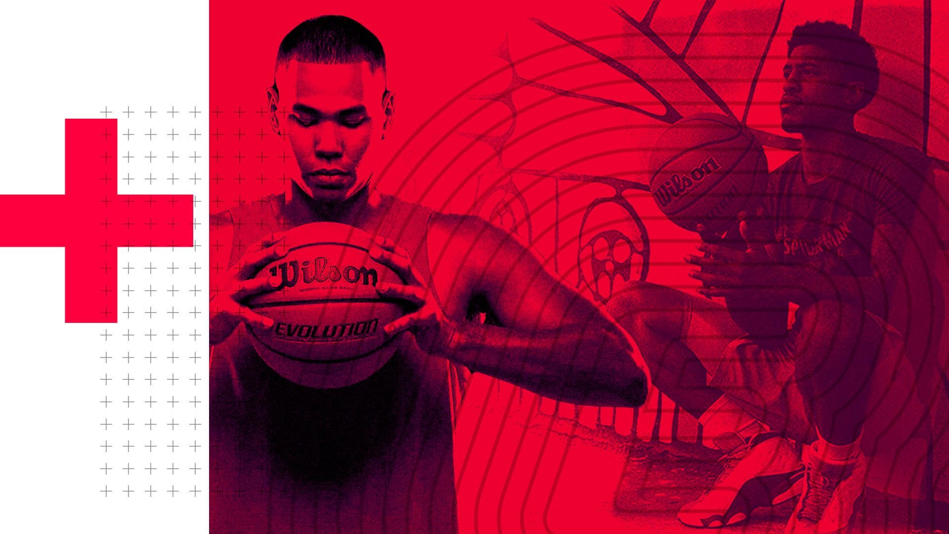 Basketball Players holding the Evolution Ball