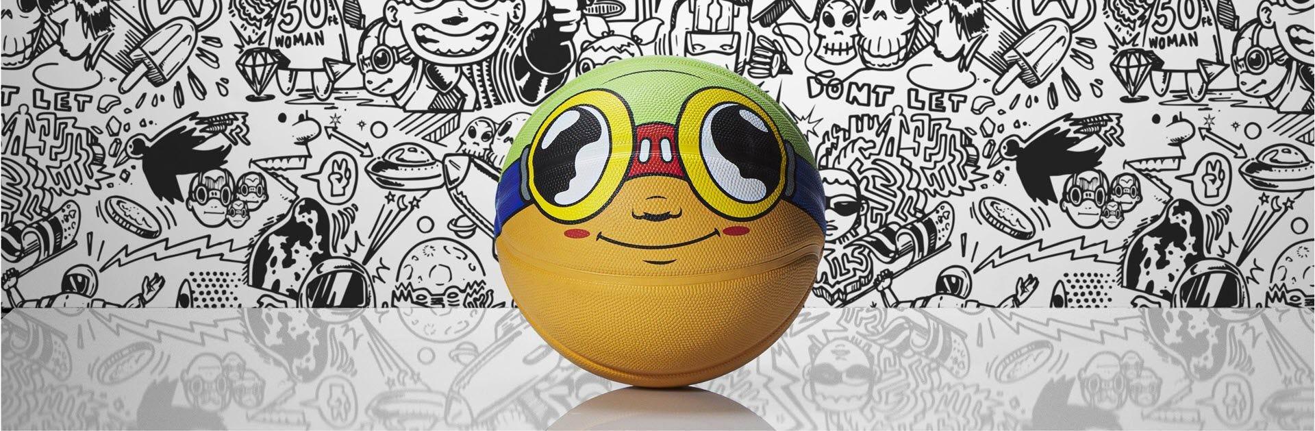 Hebru Brantley Flyboy artwork painted on basketball