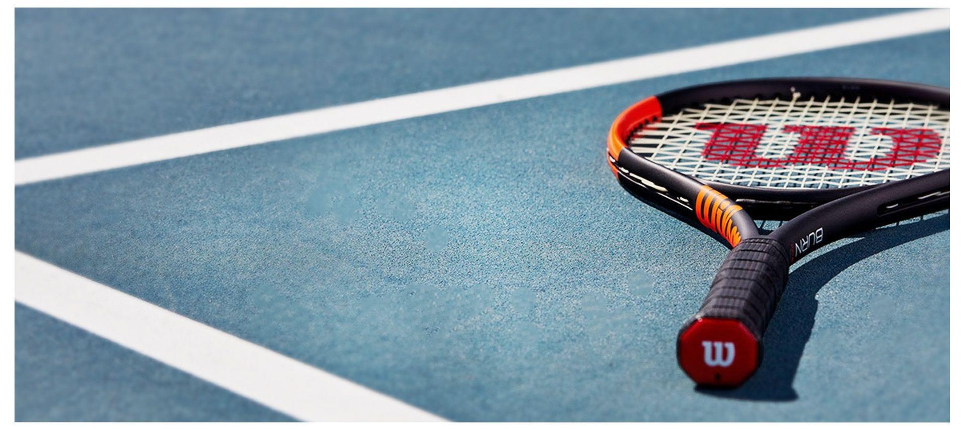 Burn racket on the tennis court