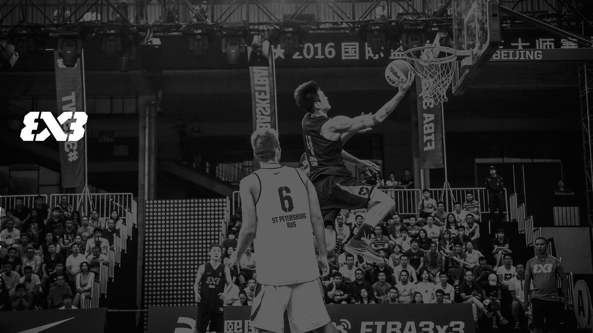 FIBA 3x3 player making a lay-up