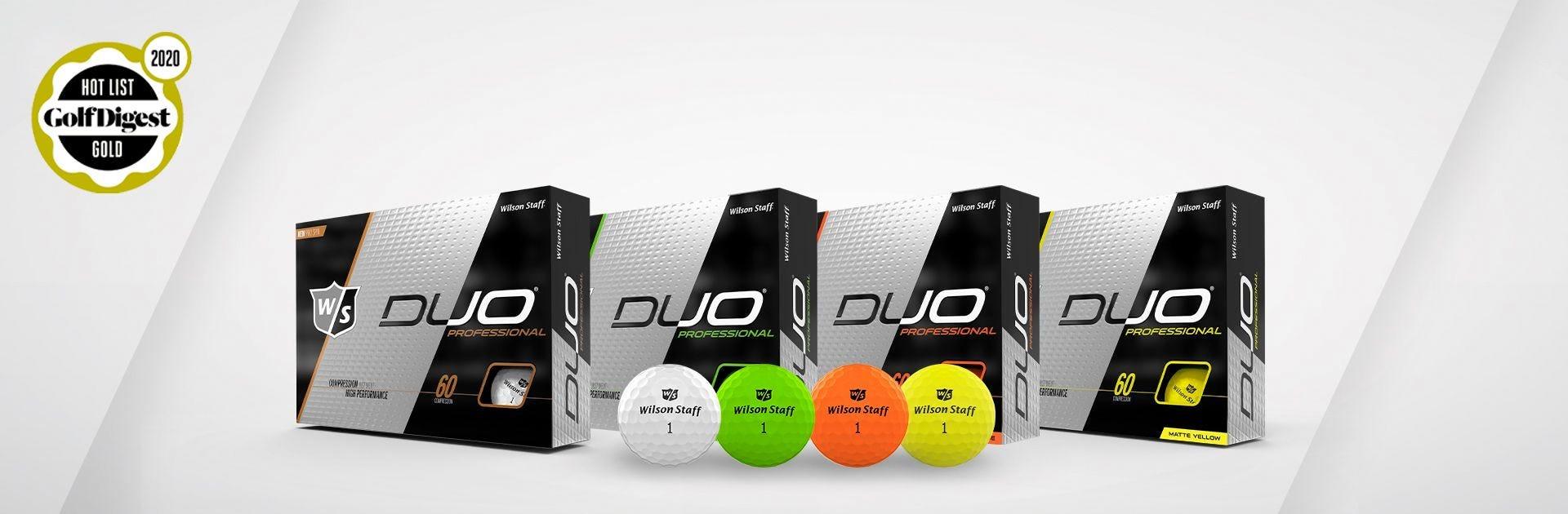Lineup of WIlson Duo Pro Golf Balls