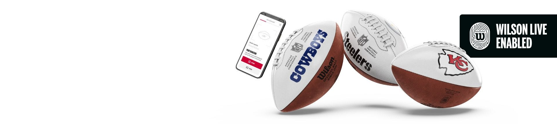 Assortment of Wilson Live enabled football products