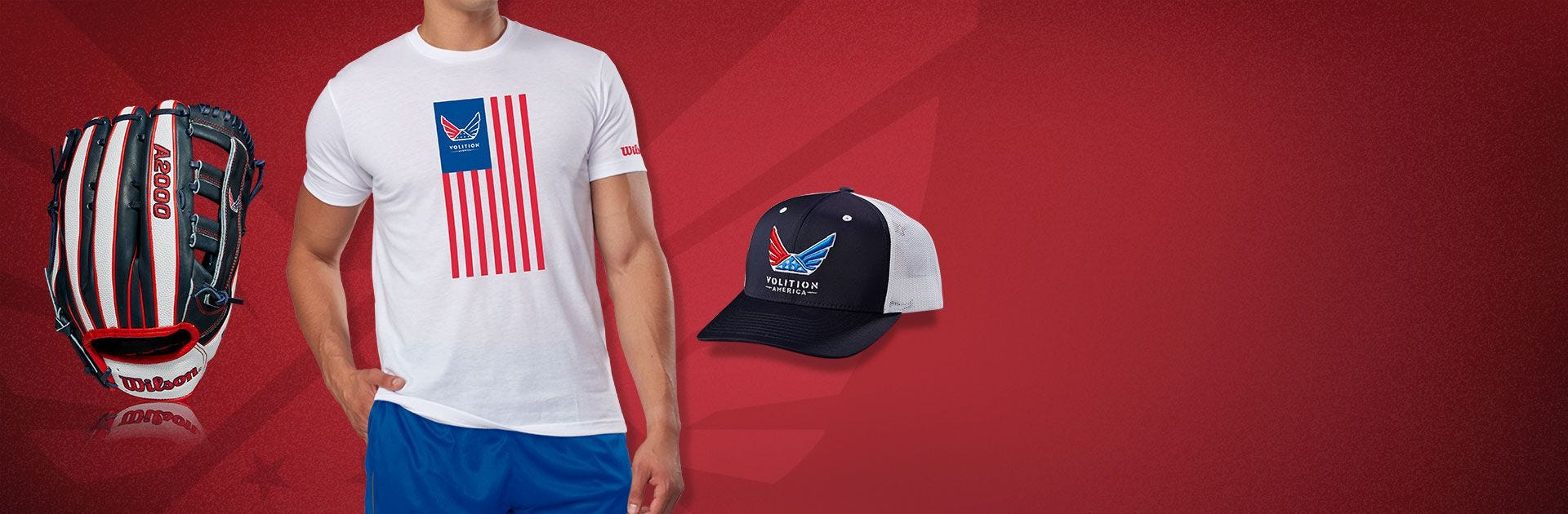 Wilson and Volition America collab softball gloves, shirt, and hat