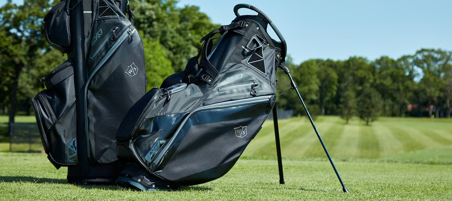 Full view of EXO Cart and EXO Carry bag on golf course