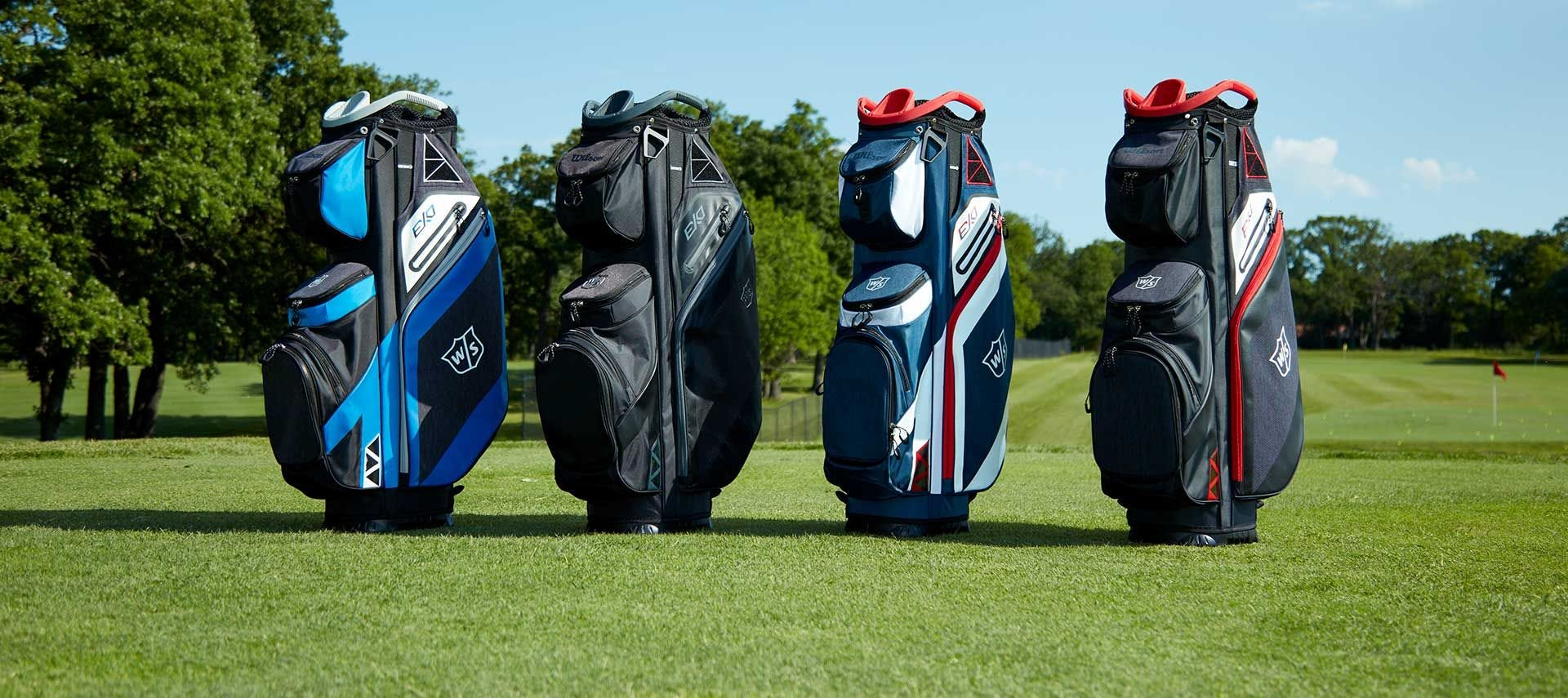 Range of EXO Cart bags on a golf course