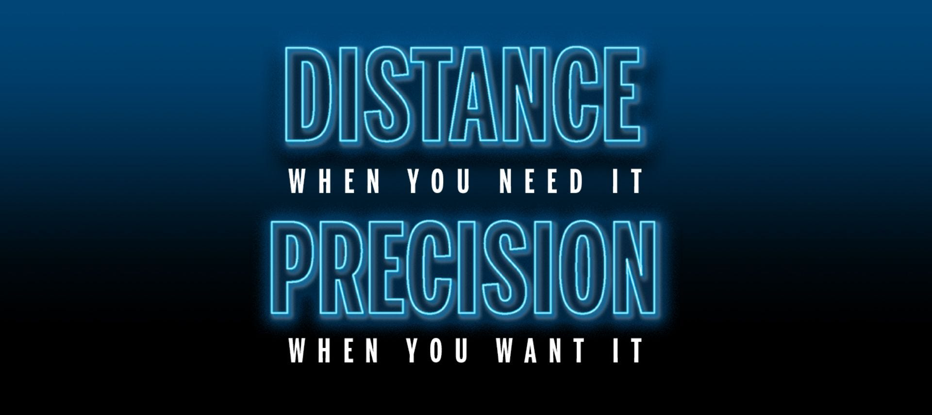 Distance and Precision graphic on blue background