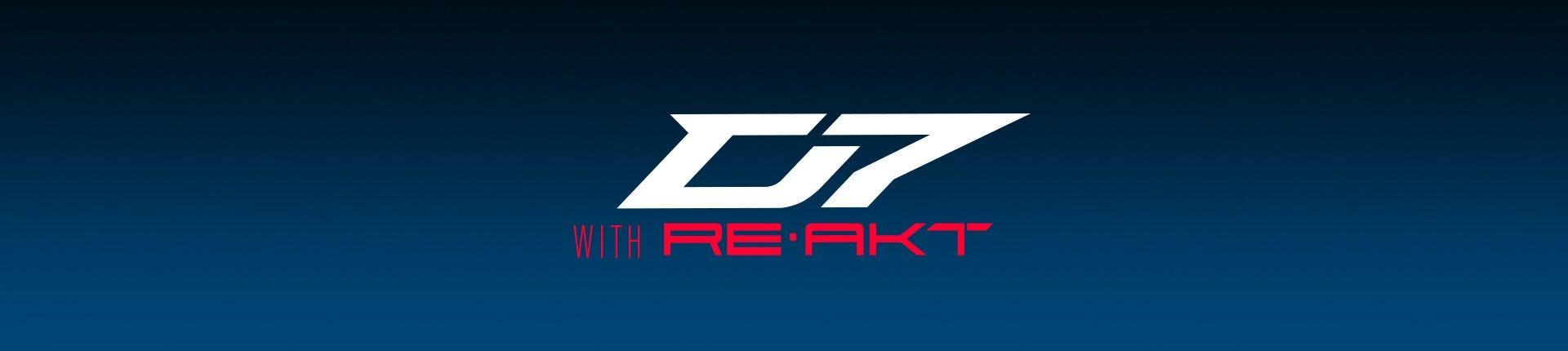 Gráfico del logotipo D7 en rojo sobre fondo azul