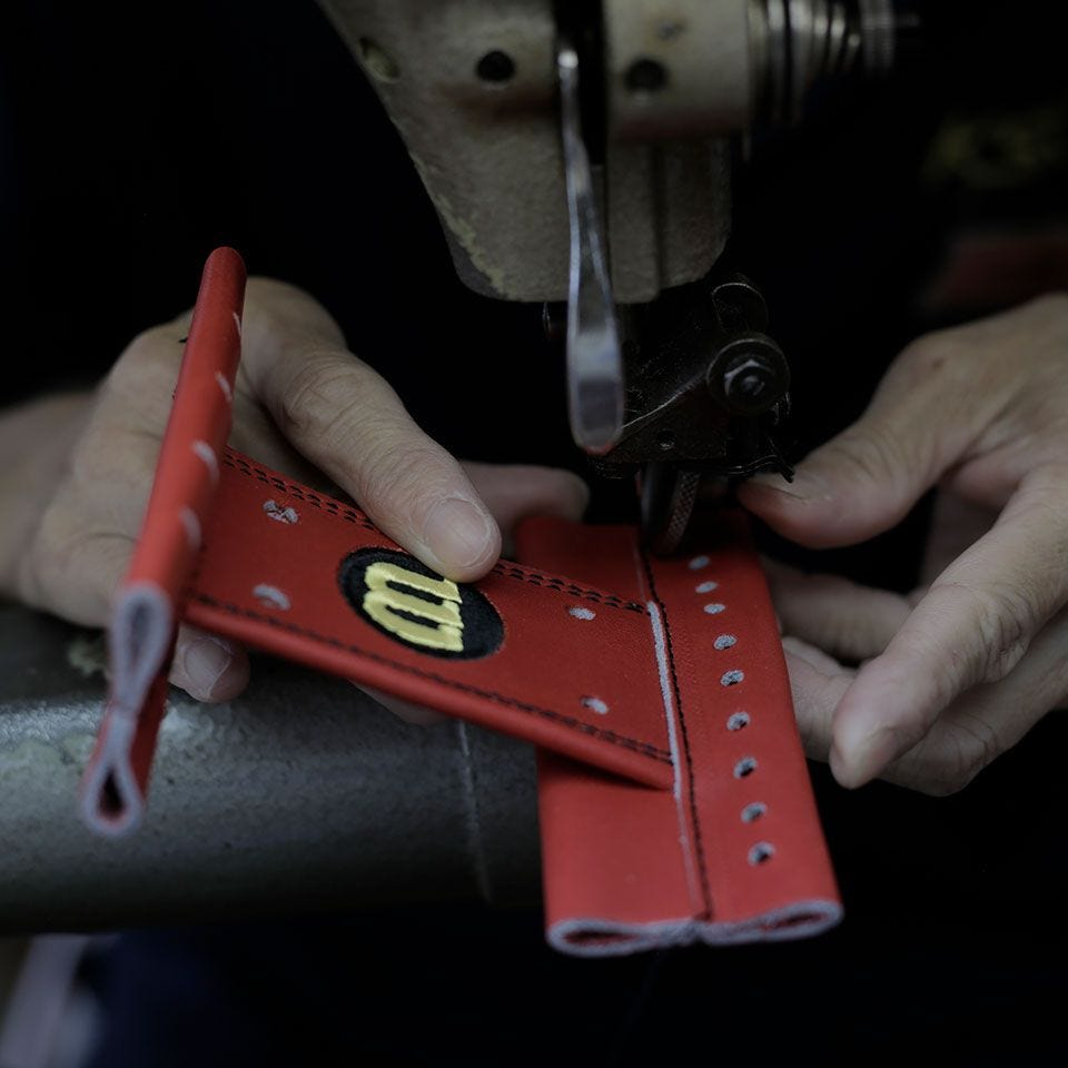 All Wilson gloves <br>are made by hand