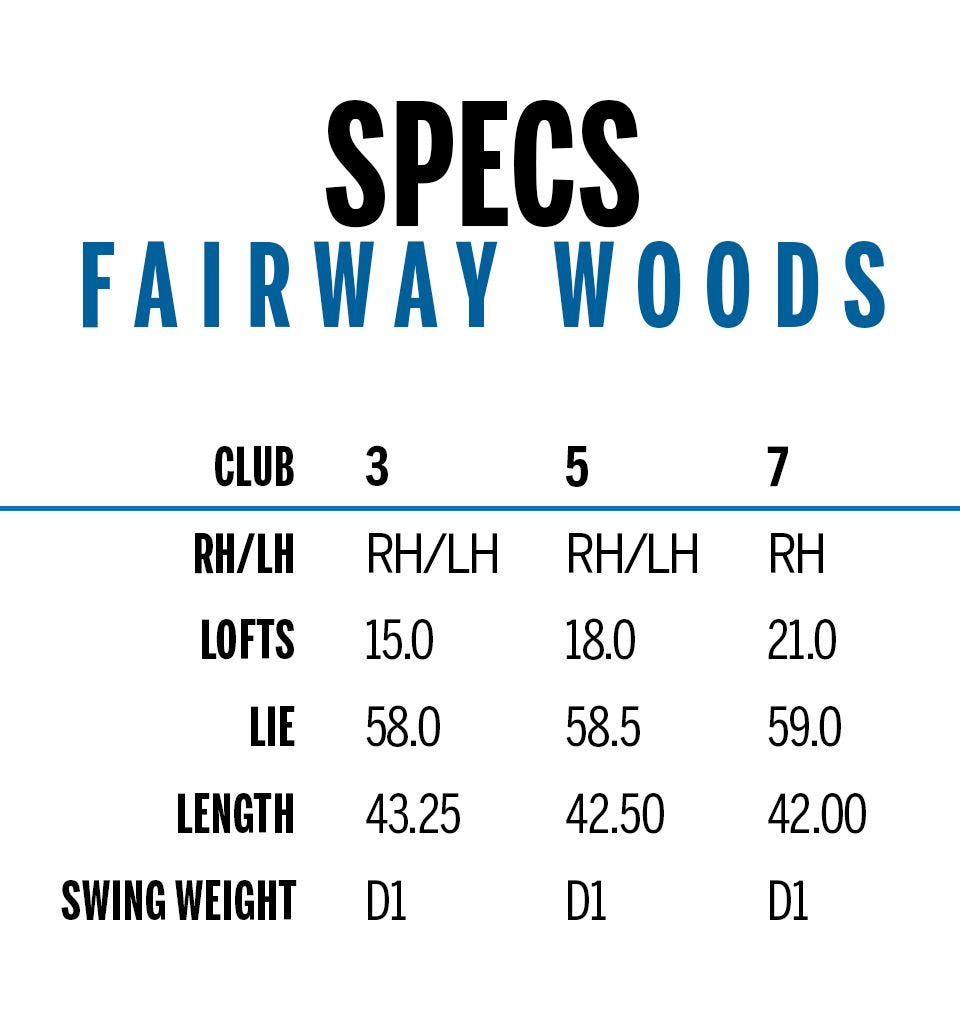 men's fairway woods specifications in a table