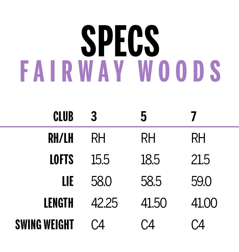 d7 womens fairway woods specifications chart